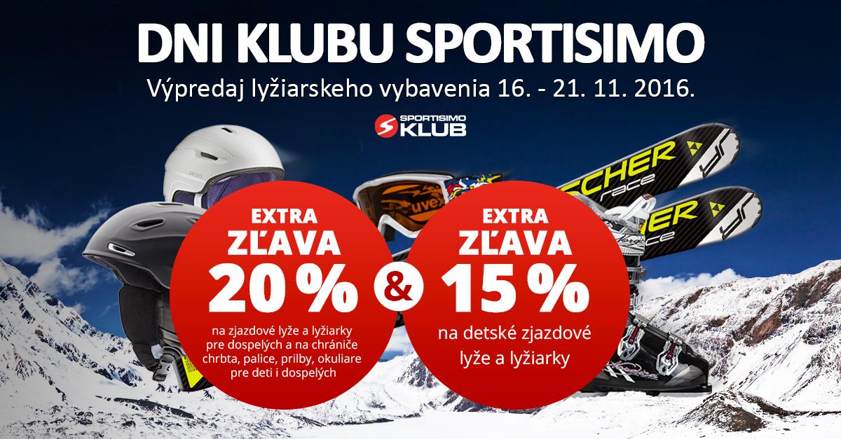 DNI KLUBU SPORTISIMO: - 20 % na lyžiarske vybavenie