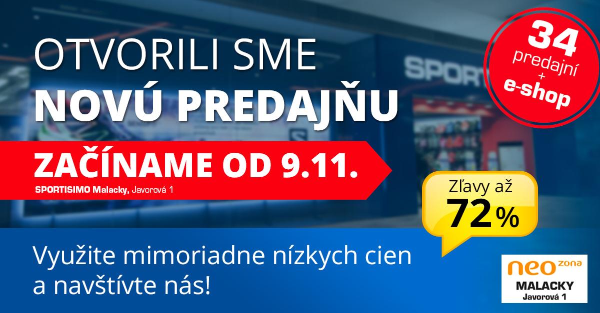 Nová predajňa v MALACKÁCH už 9. 11: AKČNÉ ZĽAVY až 72 %!